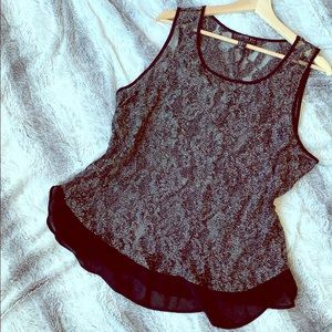 Silver and Black Lacey Top